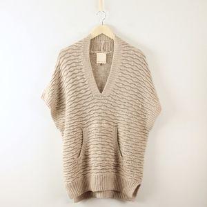 Rebecca Taylor Metallic Silver Beige Tunic Sweater